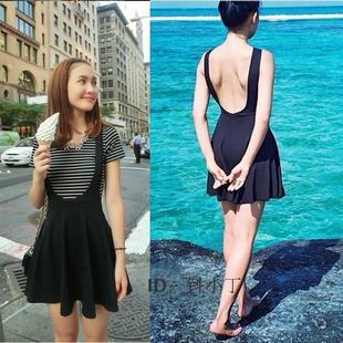 欧美AA性感露背吊带连衣裙度假沙滩短裙女侧漏收腰复古小黑裙