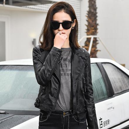 女装春装2018新款潮 韩版时尚西装领皮衣女短款pu皮夹克机车外套