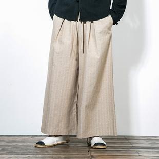 中国风亚麻休闲裤男宽松潮牌个性直筒裤日系复古条纹垂感阔腿裤子