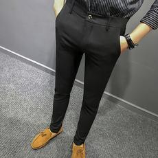 秋冬加绒男士西裤宽松中青年商务正装上班免烫西装修身裤黑色长裤