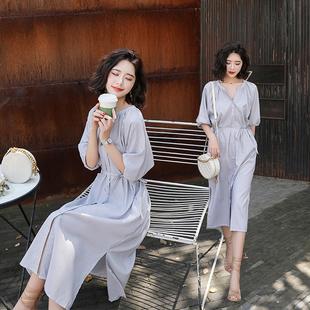 2019夏季新款韩版中长款开叉棉麻条纹衬衫连衣裙女装显瘦收腰V领