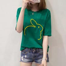 夏装短袖t恤女韩版宽松中长袖半袖体恤衫2018新款夏天绿色上衣服