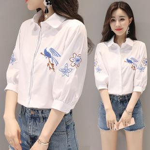 白衬衫女夏装2018新款刺绣花鸟民族风宽松显瘦小清新短袖纯棉衬衣