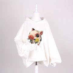 韩国东大门代购秋装女2018新款猪图案冬季灯笼袖卫衣女加厚加绒冬
