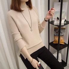 半高领毛衣女套头韩版加厚宽松大码长袖秋冬新款打底衫2017上衣潮