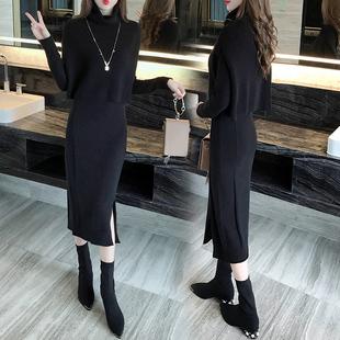 时尚套装针织连衣裙秋冬2017新款女韩版加厚中长款毛衣裙子两件套