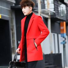 秋冬季男士帅气呢子风衣潮男装中长款西服外套个性韩版加厚小西装