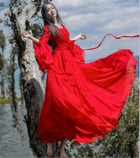 仙气连衣裙超仙长裙仙女飘逸很仙的超长款大摆森系公主森女收腰女