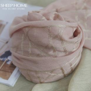 印象中的女神模样!裸粉色纯色绣花棉麻丝巾围巾薄款夏季春秋款