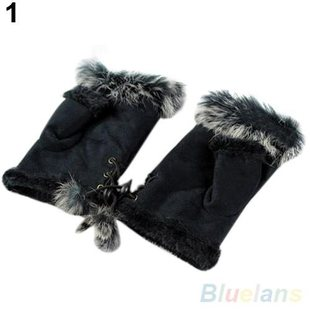 Wholesale New Rabbit Fur Leather Lady Fingerless Suede Mitte