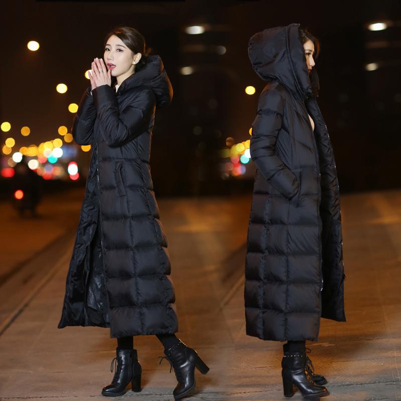 2017新款韩版中长款长过膝超长款羽绒服女反季清仓潮7001图片