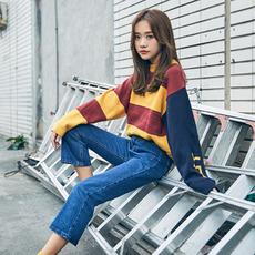 青蔷薇 秋冬季韩版打底上衣针织衫宽松学生bf拼色套头毛衣女 T370