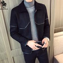 骐马保罗高品质麂皮绒加绒加厚皮夹克男皮毛一体外套商务休闲衣服