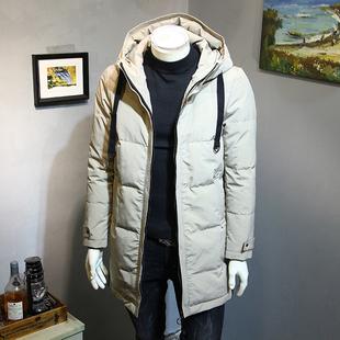 冬季中长款连帽羽绒服男韩版修身加厚保暖青年外套百搭男装羽绒衣