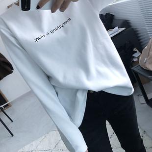 小字母长袖T恤羊绒棉打底衫加厚 女2018秋冬季新款纯棉