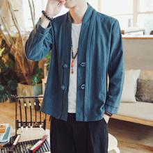 中式亚麻唐装中国风男装开衫外套棉麻汉服居士茶服民族服装秋季