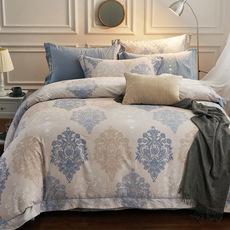 罗兰家纺正品60贡缎超细磨毛纯棉全棉被套床单式四件套