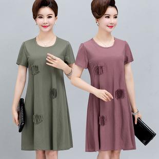 中老年棉麻裙子加肥加大码40-50-60岁中年女装妈妈夏装宽松连衣裙