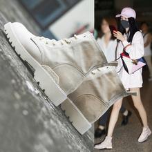 马丁靴女英伦风高帮帆布鞋子女2019新款夏季透气短靴学生百搭网红