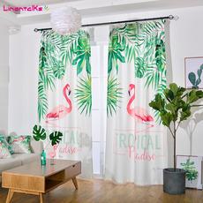北欧简约现代植物棉麻成品窗帘3D火烈鸟个性客厅卧室飘窗遮光定制
