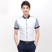 扣领撞色条纹拼接休闲衬衣C2N125 衬衫 夏季男士 时尚 罗米欧男装 短袖