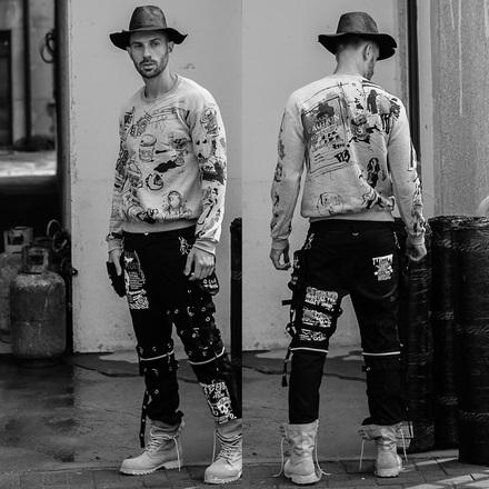欧美高街潮牌涂鸦手绘颓废嘻哈街头国潮圆领套头卫衣男潮日系复古