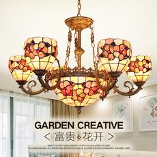 欧式田园客厅吊灯地中海北欧乡村卧室餐厅温馨大气贝壳吊灯富贵花