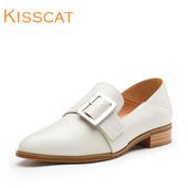 KISSCAT接吻猫新款方扣牛皮两穿时髦方头深口单鞋女DA87681-51