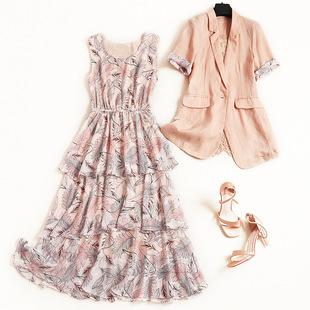 棉麻小西装套装2019夏季新款碎花雪纺蛋糕连衣裙两件套高腰长裙