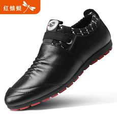 红蜻蜓男鞋秋季新款正品韩版软面皮软底真皮休闲皮鞋系带单鞋板鞋