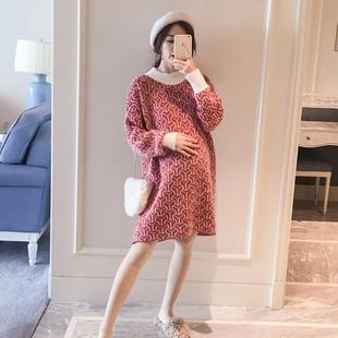 孕妇装韩版中长款保暖毛衣2018秋冬装宽松大码打底上衣时尚针织衫