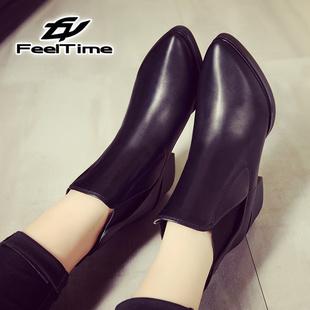 粗跟短靴女秋冬季女鞋尖头2016新款英伦风马丁靴中跟裸靴真皮女靴