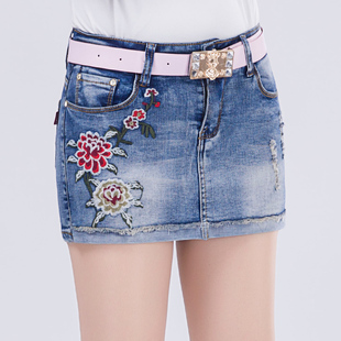 短牛仔裤裙女2018夏修身弹力做旧性感包臀绣花半身裙裤短裤女热裤