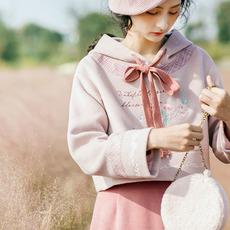 花间裳/粉黛草/小清新文艺连帽刺绣40%羊毛毛呢卫衣 女 秋冬新款