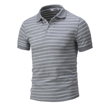Man T shirts for Mens men's striped short-sleeved T-shirts large formal Striped Polo