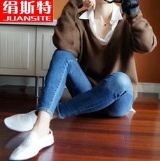 2017新款山羊绒大V领女羊绒衫慵懒宽松廓形套头韩版纯色大码毛衣