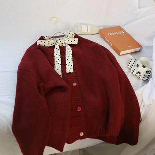 抖音超火的2019春季新款韩版复古纯色圆领羊绒开衫女春秋毛衣外套