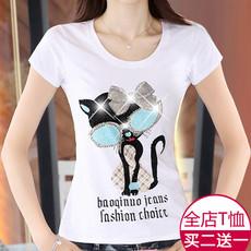 九妃钰尔短袖T恤女夏季韩版修身显瘦纯白色tshirt卡通印花烫钻潮