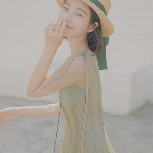 轻奢大喜自制夏装新款气质飘逸收腰显瘦圆领短袖网纱连衣裙含吊带连衣裙