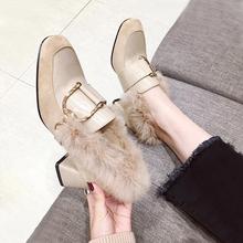 中高跟鞋 拼接女单鞋 琪琪家舒适方头金属扣兔毛粗跟鞋 18秋冬新款