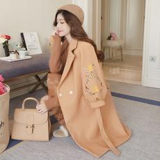 新款秋冬季收腰刺绣毛呢外套女中长款韩国修身灯笼袖呢子大衣风衣