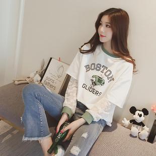 新款2017韩版假两件蕾丝拼接字母印花T恤女长袖学生宽松打底衫潮