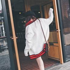 原宿白色粗毛线ulzzang毛衣开衫外套女秋冬季中长款韩版宽松学生