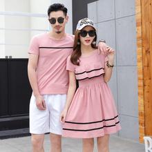 情侣装qlz夏装2018新款潮粉色上衣短袖T恤韩版学生女显瘦连衣裙