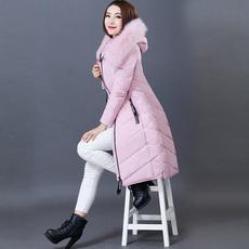 薇薇蝶 2016冬新款中长款羽绒服女过膝加厚超长大毛领修身外套潮