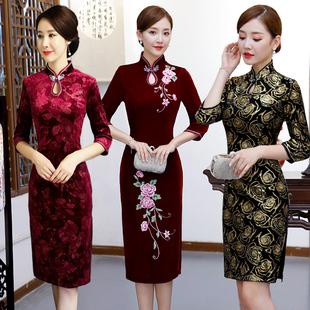 新款金丝绒旗袍中长款改良高贵婚宴礼服中年女婚礼妈妈旗袍连衣裙