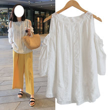Pregnant women's summer dress jacket, short sleeve, open shoulder lace shirt, doll shirt, Korean version, loose size fashion trendy new style