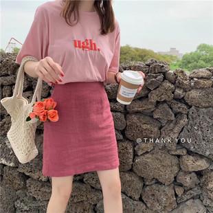 LIPS定制 韩国ins夏季少女树莓色纯色简约百搭显白高腰棉麻半身裙