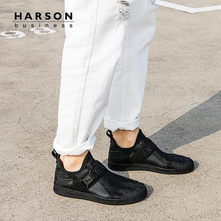 哈森 2018春季新品织物时尚圆头轻质透气运动休闲鞋男MS83105