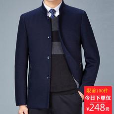 秋冬款中年男士毛呢外套40-50岁立领商务休闲中老年爸爸夹克外套